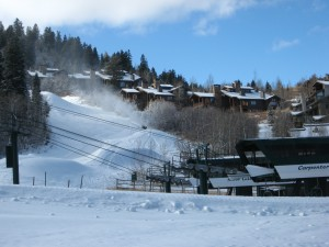Snowmaking efforts on November 23, 2009