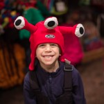 Seth, 5,  needed to get in on the act.  Pretty sure this three-eyed monster helmet cover summarizes his personality.