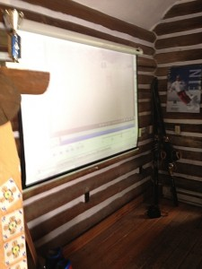 Reviewing our skiing in the video shack.