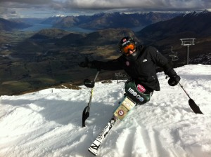 The top of the ski area in Coronet Peak overlooking Queenstown.