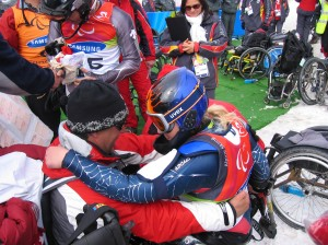 Embracing Marcel in the finish area just after I won my first Paralympic Gold medal in the 2006 Torino Paralympic Games