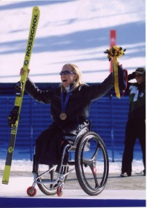 2002 Salt Lake City Paralympic Bronze Medal in Downhill, Marcel cheering in the background