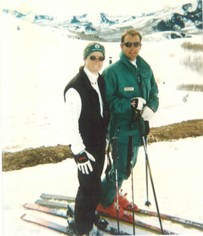 Kathy in the early days at Deer Valley Resort with late husband Chris Sherwin.