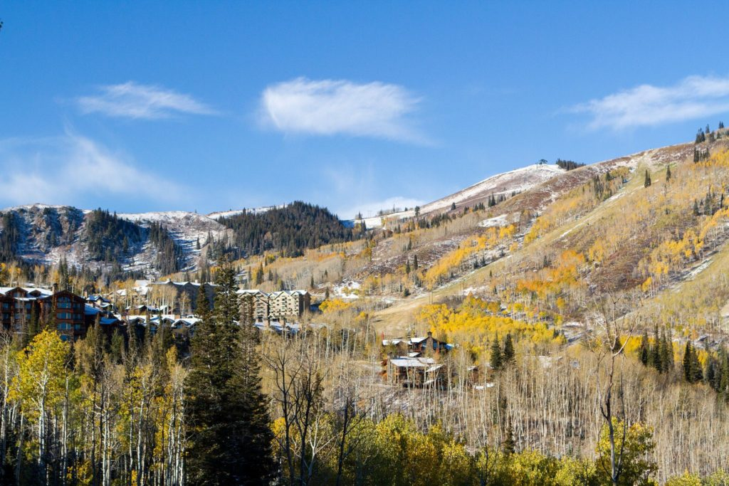Deer Valley Resort lodging in the fall with snow