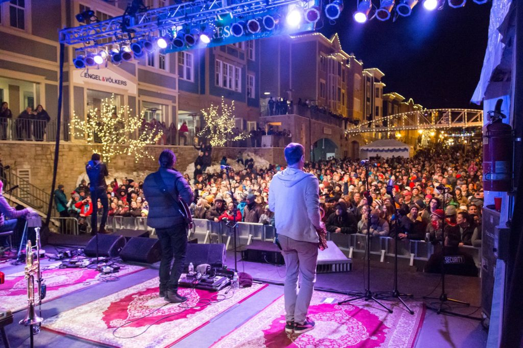 Looking into the crowd on Park City's Main Street. A concert put on by Deer Valley Resort.