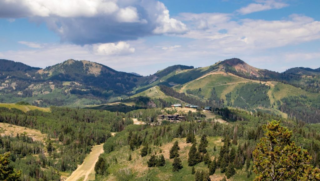 View of Flagstaff Mountain at Deer Valley Resort in Park City, Utah.