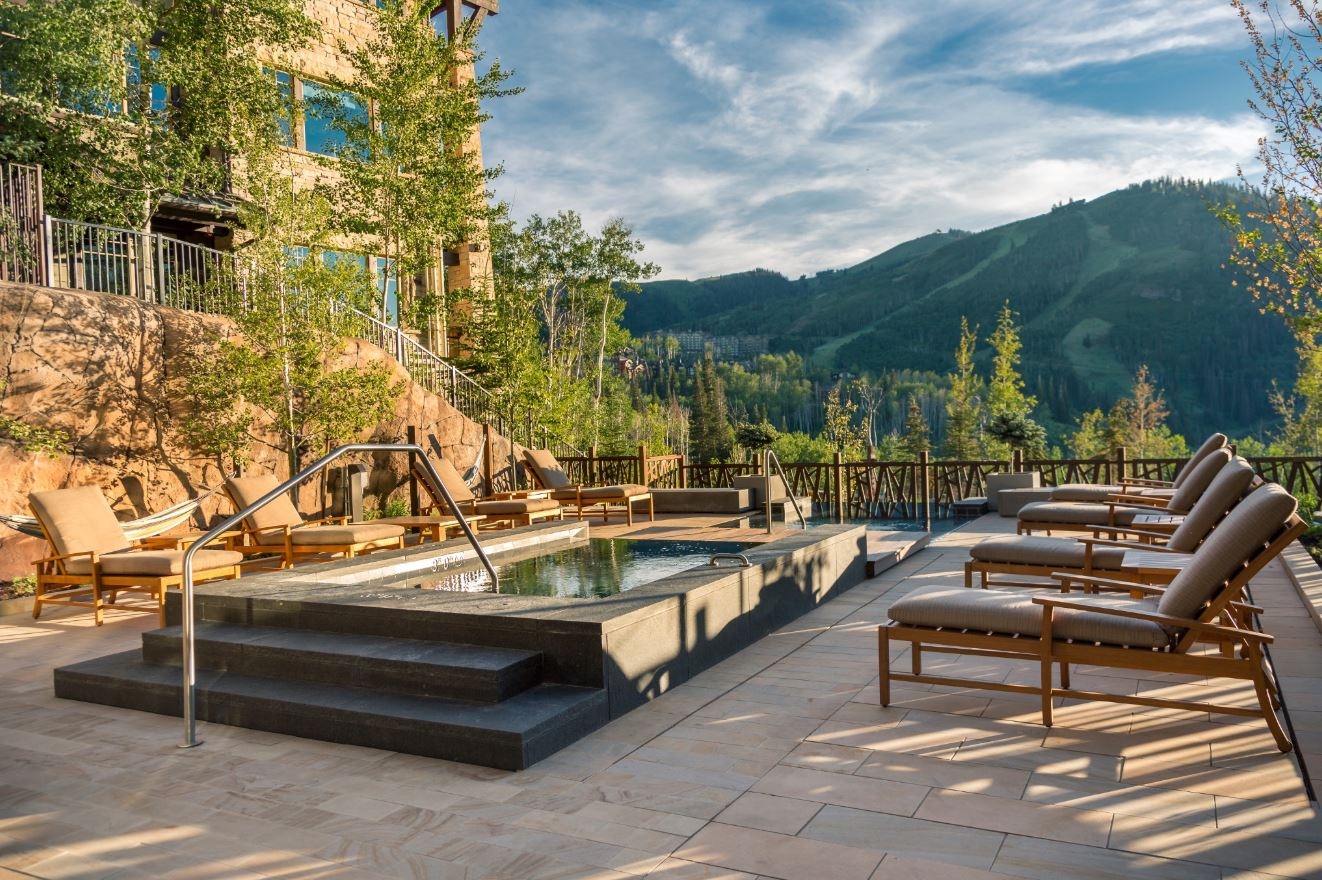 Pool with a view at One Empire Pass at Deer Valley Resort in Park City, Utah.