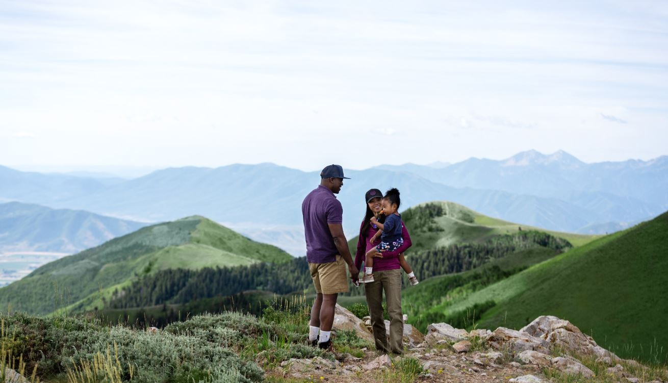 Family Hiking at Deer Valley in Park City, Utah.