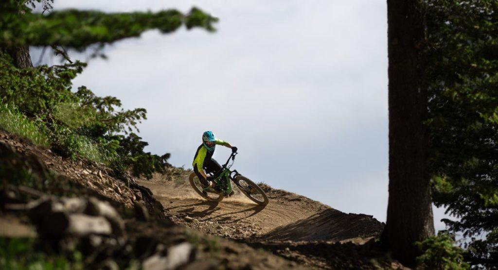 Mountain Biker riding at Deer Valley in Park City, Utah.