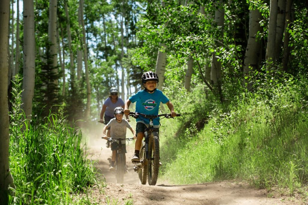 Family Mountain biking at Deer Valley in Park City, Utah.