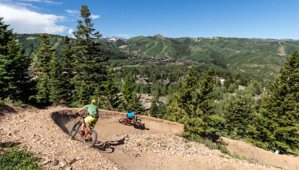 Two mountain bikers in Park City, Utah at Deer Valley Resort