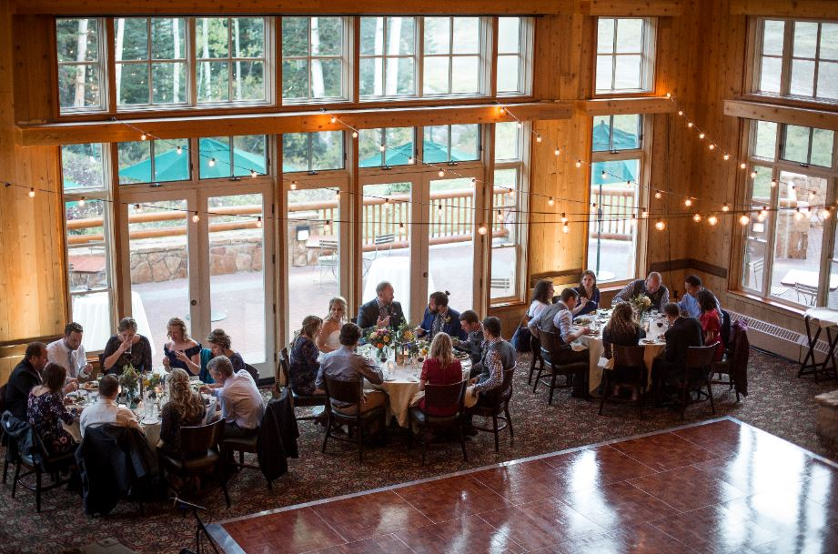People eating at Empire Canyon Lodge Wedding at Deer Valley Resort in Park City, Utah
