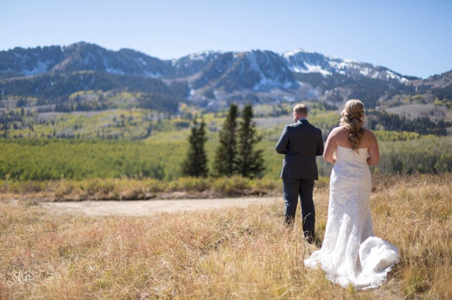 Bride and Groom first look in Park City
