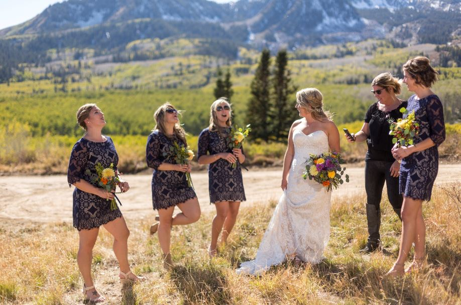 Bride and four bridesmaids at Deer Valley Resort in Park City, Utah.