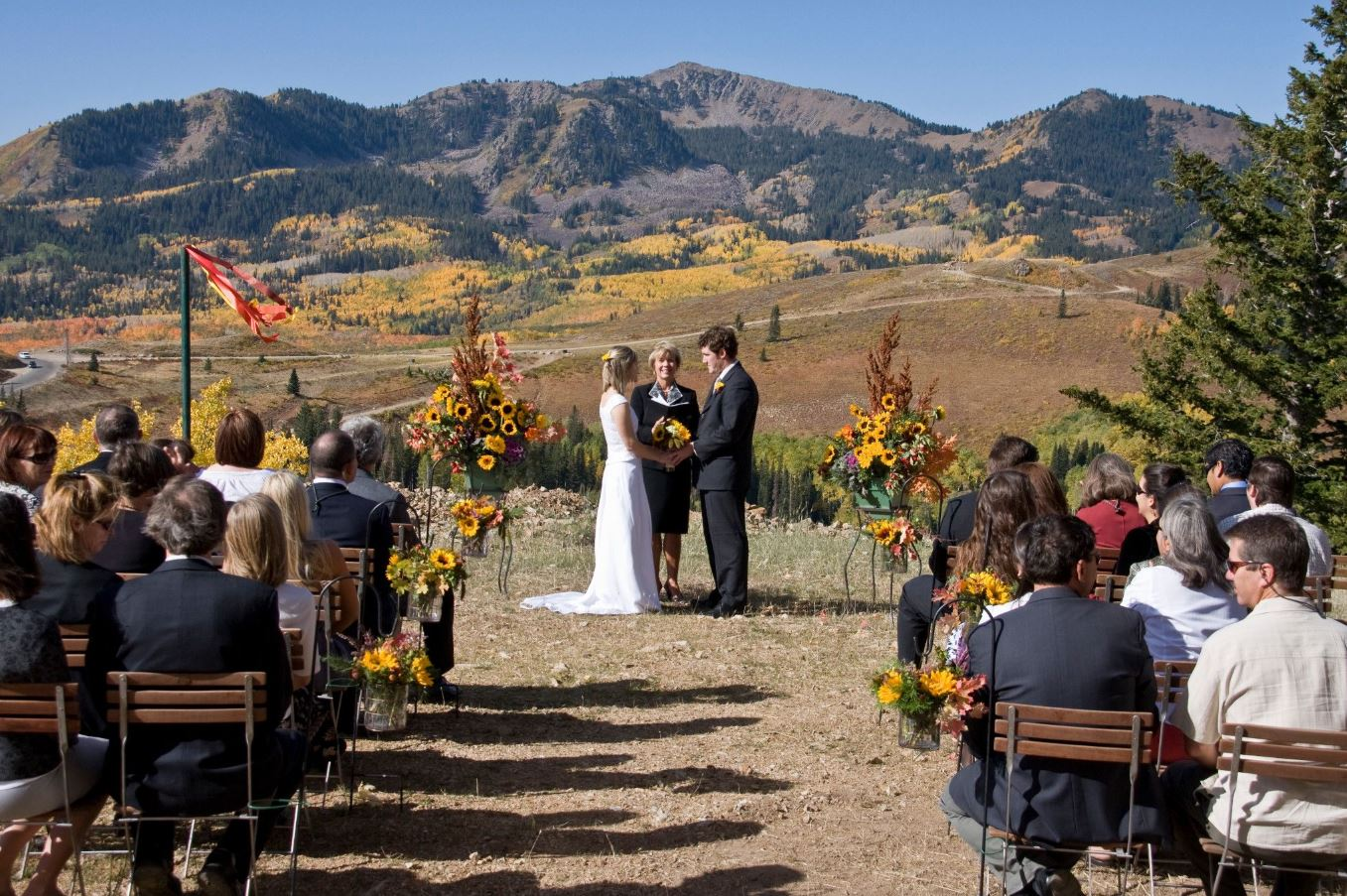 Two people getting married in the mountains of Park City, Utah.
