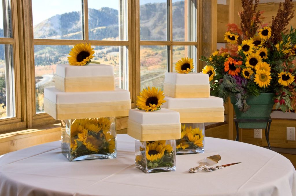 Three Wedding Cakes with sunflowers