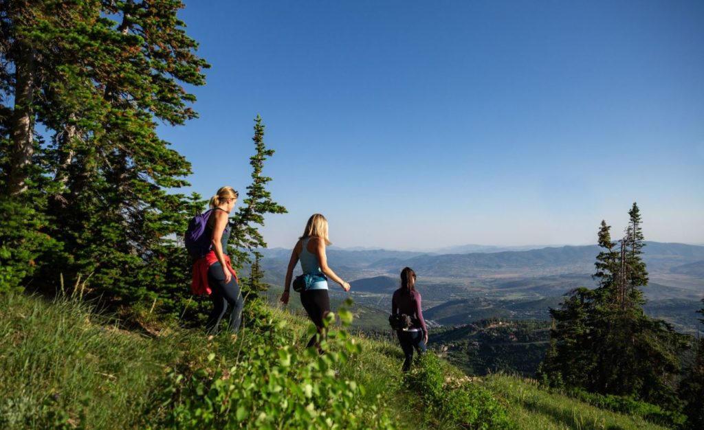 Three ladies hiking in Park City, Utah at Deer Valley Resort