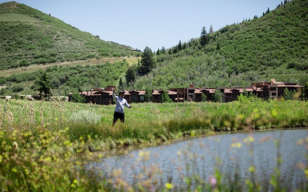 Man fly fishing in Park City Utah