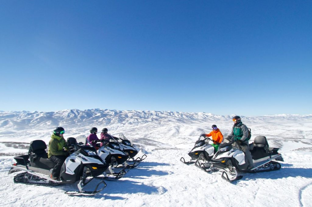 Group of snowmobiles with a great view in Park City, Utah