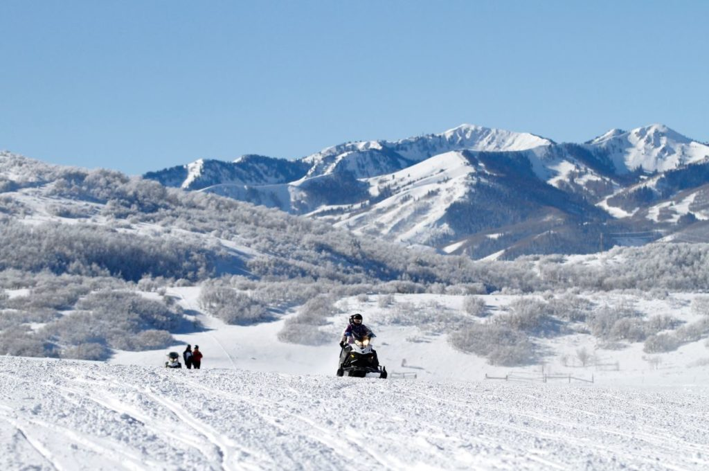Snowmobiling in Park City Utah with a wonderful view