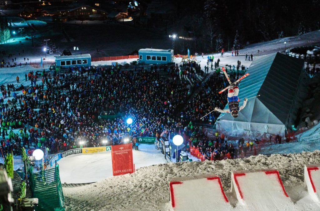 Skier going off jump at the 2020 Deer Valley World Cup