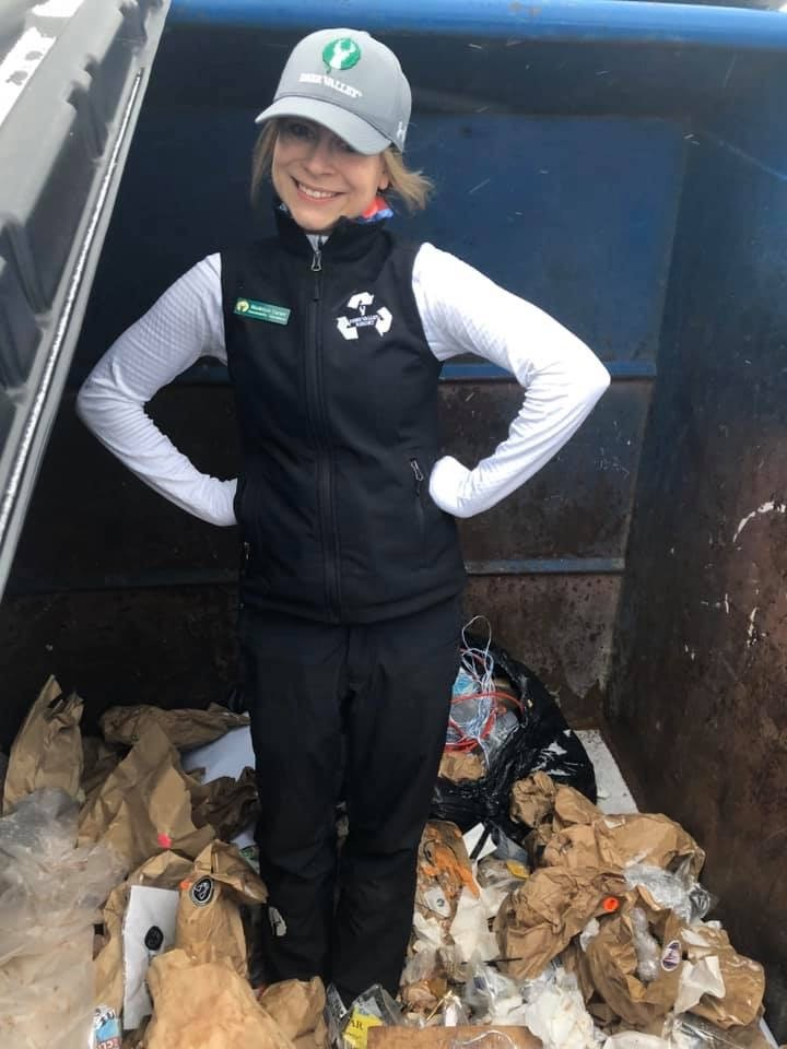 dumpster diving every night to make sure that waste items were properly diverted.
