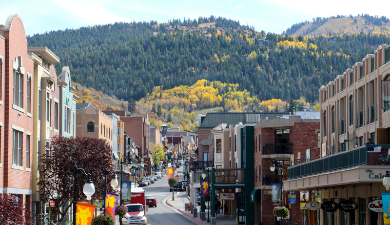 Fall in Park City, Utah on Main Street with Deer Valley in the background.