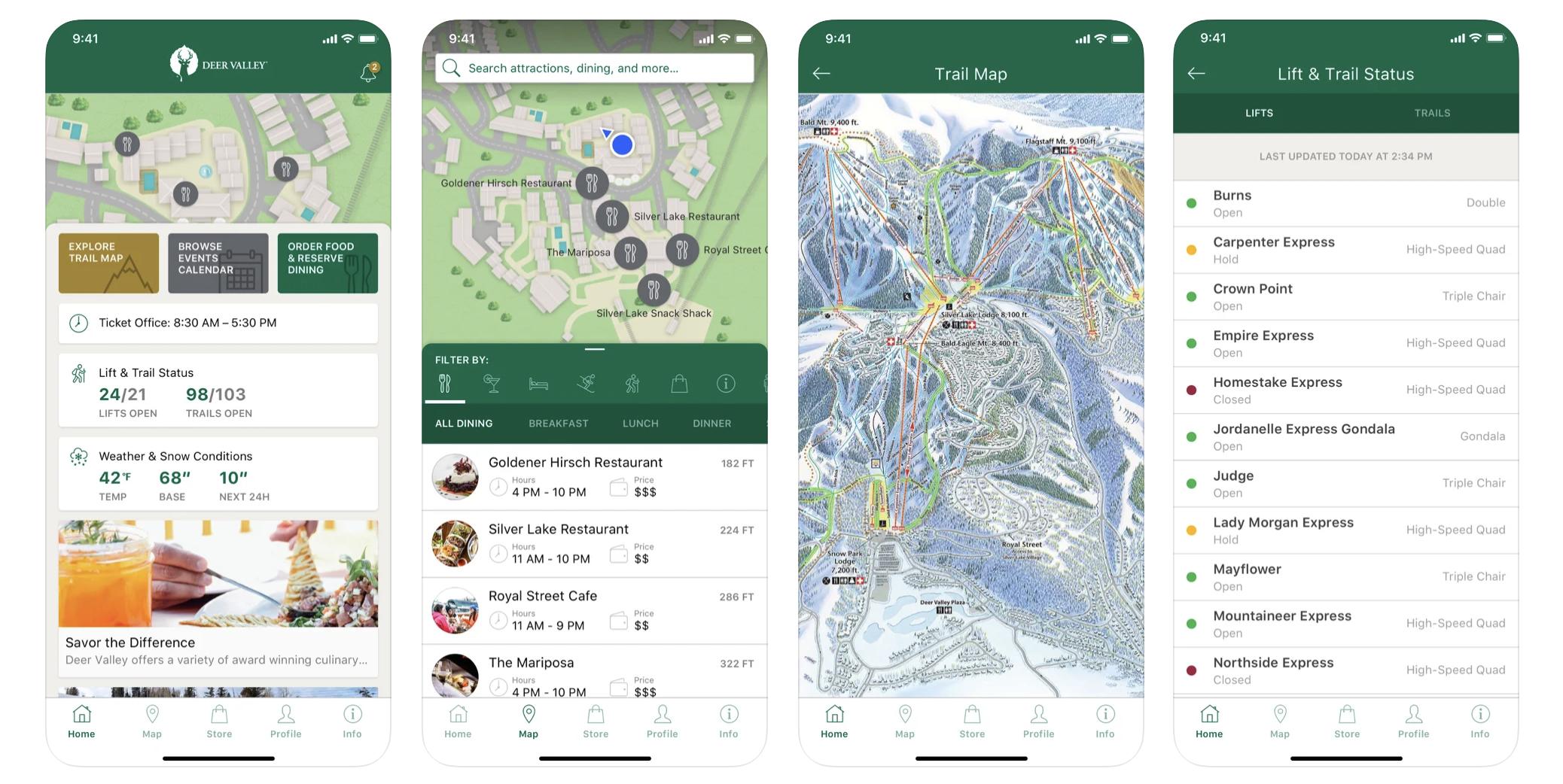 Screenshots of Deer Valle App